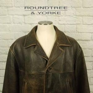 Leather Bomber Jacket Sz. L